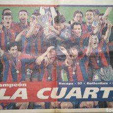 Coleccionismo deportivo: PÓSTER F. C. BARCELONA DE LA CUARTA RECOPA.. Lote 255959405
