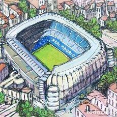 Coleccionismo deportivo: ESTADIO BERNABEU CHAMARTIN DE REAL MADRID. CUADRO POP MODERNO TIPO COMIC. JOSÉ ALCALA. Lote 261818400