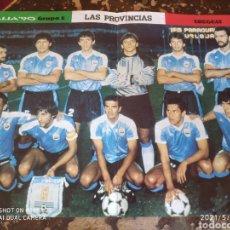 Coleccionismo deportivo: 4 POSTERS EN 1, MUNDIAL DE FURBOL ITALIA '90: ESPAÑA, URUGUAY, COREA Y BELGICA (LAS PROVINCIAS). Lote 262068660