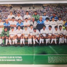 Coleccionismo deportivo: 1986/1987 - POSTER PLANTILLA REAL MADRID. 40X54CM. CAMACHO, HUGO SÁNCHEZ, GORDILLO, JUANITO.. Lote 265699359