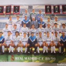 Coleccionismo deportivo: 1989/1990. POSTER GIGANTE PLANTILLA REAL MADRID 80X55CM. TEMPORADA 89/90.. Lote 265701889