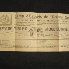 Coleccionismo deportivo: ATENEU DEPORTIU FUTBOL CLUB SANT FELIU DE GUIXOLS VS ATLETIC DEL TURO-MARÇ 1923-VER FOTOS-(K-3096). Lote 267667779