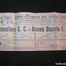 Coleccionismo deportivo: ATENEU DEPORTIU FUTBOL CLUB SANT FELIU DE GUIXOLS VS GRANOLLERS SC-AGOST 1922-VER FOTOS-(K-3099). Lote 267668089