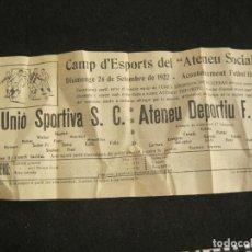 Coleccionismo deportivo: ATENEU DEPORTIU FUTBOL CLUB SANT FELIU DE GUIXOLS VS UNIO SPORTIVA-SETEMBRE 1922-VER FOTOS-(K-3101). Lote 267668334