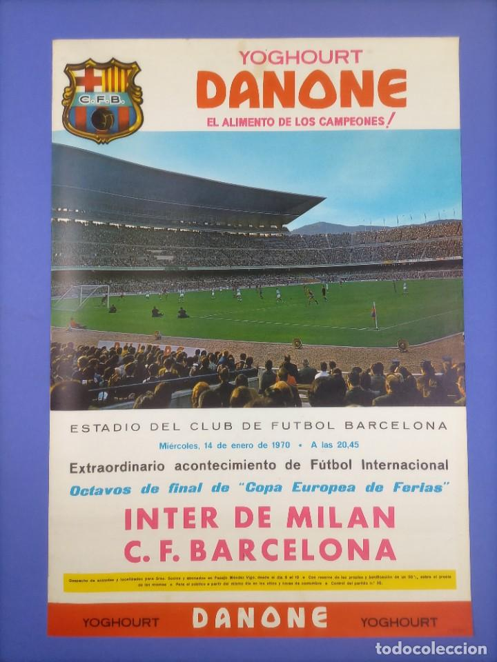 CARTEL - INTER DE MILAN C.F. BARCELONA - 1970 - 63X43,5CM - OCTAVOS COPA EUROPEA FERIAS (Coleccionismo Deportivo - Carteles de Fútbol)