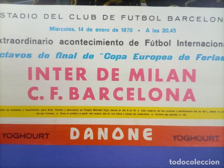 Coleccionismo deportivo: CARTEL - INTER DE MILAN C.F. BARCELONA - 1970 - 63x43,5cm - OCTAVOS COPA EUROPEA FERIAS - Foto 2 - 268738954