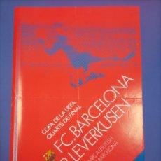 Coleccionismo deportivo: CARTEL - BARCELONA - BAYER LEVERKUSEN - 1987 88 - 64,5X42,5CM - 4OS - COPA UEFA CUP. Lote 268751789