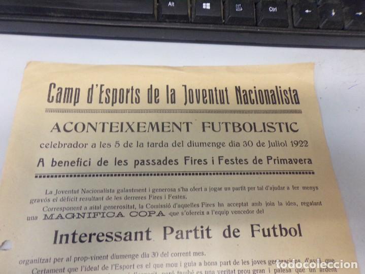 Coleccionismo deportivo: cartel futbol 1922 aconteixement futbolistic entre catalonia sant sadurni y joventud de igualada - Foto 2 - 273973398