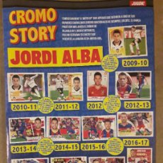 Coleccionismo deportivo: HOJA TIPO POSTER REVISTA JUGON, JORDI ALBA CROMO STORY 2009 2020, VALENCIA CF, FC BARCELONA, ESPAÑA. Lote 277193318