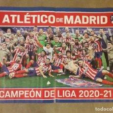 Coleccionismo deportivo: POSTER CENTRAL REVISTA JUGON ATLÉTICO MADRID CAMPEON LIGA 2020-21 / VILLARREAL CAMPEON EUROPA LEAGUE. Lote 277193758