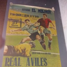Coleccionismo deportivo: ÚNICO CARTEL REAL AVILES-REAL GIJÓN (EN 2 DIVISIÓN LOS DOS) AÑOS 50. Lote 277683163