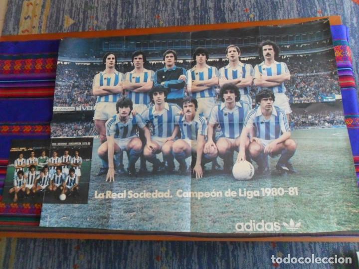 PÓSTER CARTEL GIGANTE ADIDAS REAL SOCIEDAD CAMPÉON DE LIGA 1980 81. REGALO SUBCAMPEÓN 1979 80. RARO. (Coleccionismo Deportivo - Carteles de Fútbol)