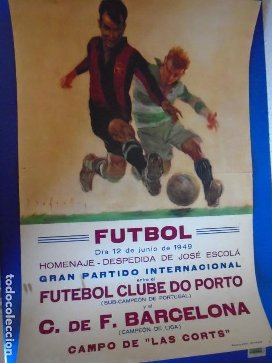 Coleccionismo deportivo: (F-210910)CARTEL HOMENAJE JOSE ESCOLA 12-6-49 F.C.BARCELONA-F.C.OPORTO ILUSTRADO POR SEGRELLES - Foto 2 - 287995088