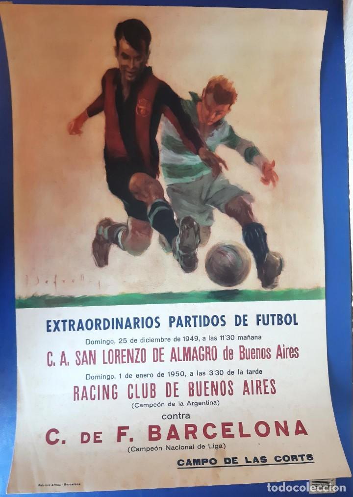 (F-210911)CARTEL 1949-1950 F.C.BARCELONA-C.A.SAN LORENZO DE ALMAGRO Y R.C ILUSTRADO POR SEGRELLES (Coleccionismo Deportivo - Carteles de Fútbol)