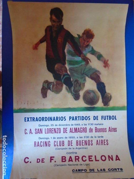 Coleccionismo deportivo: (F-210911)CARTEL 1949-1950 F.C.BARCELONA-C.A.SAN LORENZO DE ALMAGRO Y R.C ILUSTRADO POR SEGRELLES - Foto 2 - 287995933