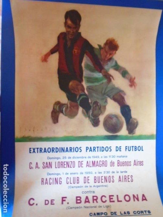 Coleccionismo deportivo: (F-210911)CARTEL 1949-1950 F.C.BARCELONA-C.A.SAN LORENZO DE ALMAGRO Y R.C ILUSTRADO POR SEGRELLES - Foto 3 - 287995933