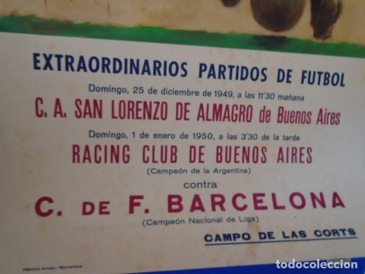 Coleccionismo deportivo: (F-210911)CARTEL 1949-1950 F.C.BARCELONA-C.A.SAN LORENZO DE ALMAGRO Y R.C ILUSTRADO POR SEGRELLES - Foto 6 - 287995933