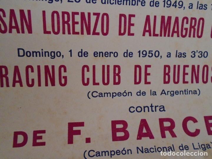 Coleccionismo deportivo: (F-210911)CARTEL 1949-1950 F.C.BARCELONA-C.A.SAN LORENZO DE ALMAGRO Y R.C ILUSTRADO POR SEGRELLES - Foto 7 - 287995933