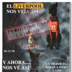 Coleccionismo deportivo: CARTEL 08-12-1998 LIVERPOOL - CELTA. Lote 294089223
