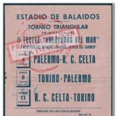 Coleccionismo deportivo: CARTEL II TROFEO HUÉRFANOS DEL MAR 1950 PALERMO, TORINO Y CELTA DE VIGO. Lote 294090878
