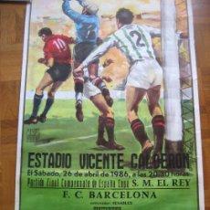 Coleccionismo deportivo: COPA DEL REY 1986. BARCELONA - ZARAGOZA. CARTEL DE 96 X 44 CMS,. Lote 297351968