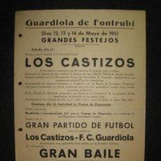 Coleccionismo deportivo: GUARDIOLA DE FONTRUBI-FESTEJOS 1951-FUTBOL-LOS CASTIZOS VS FC GUARDIOLA-VER FOTOS-(K-4564). Lote 297352488