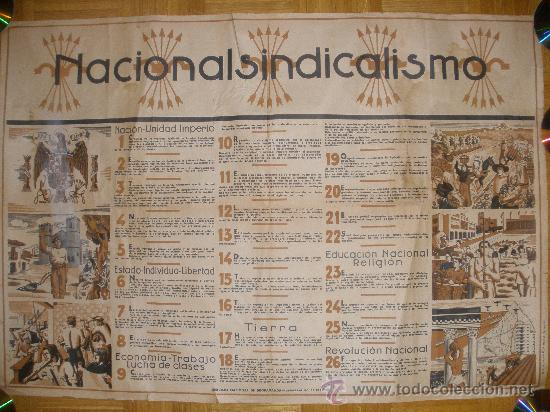 CARTEL GUERRA CIVIL-ORIGINAL-. NACIONAL SINDICALISMO. AÑO 1939? (Coleccionismo - Carteles Gran Formato - Carteles Guerra Civil)