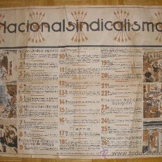 Carteles Guerra Civil: CARTEL GUERRA CIVIL-ORIGINAL-. NACIONAL SINDICALISMO. AÑO 1939?. Lote 27212867