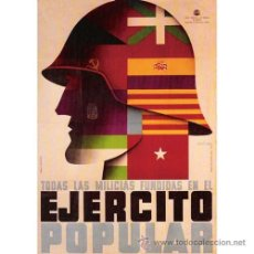 Carteles Guerra Civil: EJERCITO POPULAR GUERRA CIVIL ESPAÑOLA. CUADRO EN TABLA DE MADERA DE 40 X 28 CM. . Lote 135796205