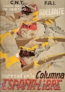 CARTEL CNT FAI COLUMNA LIBRE. GUERRA CIVIL ESPAÑOLA. CUADRO EN TABLA DE MADERA DE 40 X 28 CM. (Coleccionismo - Carteles Gran Formato - Carteles Guerra Civil)