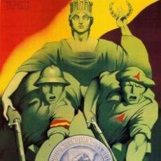 Carteles Guerra Civil: CARTEL REPUBLICANO DE LOS INTERNACIONALES. GUERRA CIVIL ESPAÑOLA. CUADRO EN TABLA DE 40 X 28 CM. . Lote 25804536