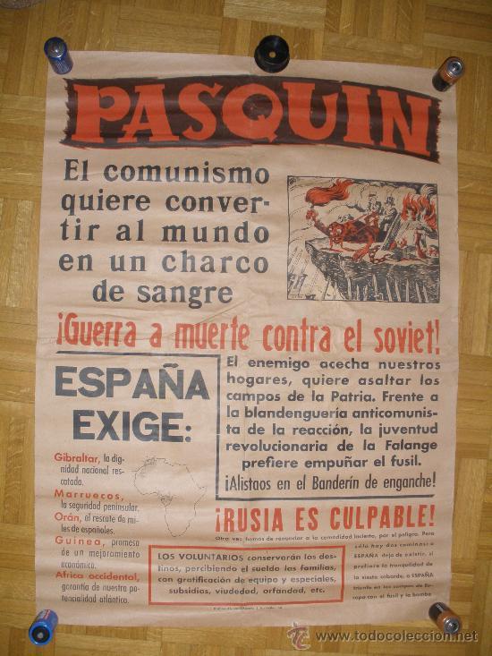 CARTEL,PASQUIN,ORIGINAL DE LA GUERRA CIVIL.BANDO NACIONAL.GRAFICAS VALLADOLID. (Coleccionismo - Carteles Gran Formato - Carteles Guerra Civil)