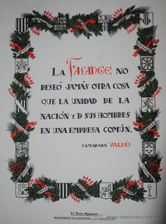 1943.- CARTEL DE FALANGE ESPAÑOLA. CAMARADA VALDES. IMPRIME EL DEPARTAMENTO DE PROPAGANDA (Coleccionismo - Carteles Gran Formato - Carteles Guerra Civil)