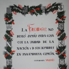 Carteles Guerra Civil: 1943.- CARTEL DE FALANGE ESPAÑOLA. CAMARADA VALDES. IMPRIME EL DEPARTAMENTO DE PROPAGANDA. Lote 33617966