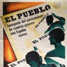 Carteles Guerra Civil: CARTEL GUERRA CIVIL EL PUEBLO, VALENCIA REPUBLICA PARTIDO SINDICALISTA ARTURO BALLESTER, 70X100CM. Lote 37258318