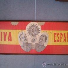 Carteles Guerra Civil: GRAN CARTEL DE GUERRA CIVIL,FRANCO Y MOLA,VIRGEN DEL PILAR,ZARAGOZA,TOTALMENTE ORIGINAL,ENMARCADO. Lote 40775320