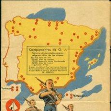 Carteles Guerra Civil: *** PRECIOSO CARTEL DE CAMPAMENTOS DE ORGANIZACIÓN JUVENIL 1936 MADRID (FALANGE) ***. Lote 39537251