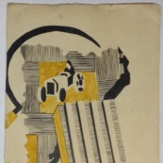 Carteles Guerra Civil: DIBUJO ORIGINAL. GUERRA CIVIL. 1938. CATALUNYA. FIRMA 'A.M'. 16,5 X 11,5 CM.. Lote 39747235