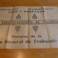 Carteles Guerra Civil: ANTIGUO GRAN CARTEL DE UGT DE GUERRA CIVIL. OBREROS Y CAMPESINOS. VALENCIA. Y MAPA POR DETRAS. . Lote 42850399