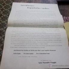 Carteles Guerra Civil: 3491.- LERIDA-GUERRA CIVIL-FALANGE ESPAÑOLA TRADICIONALISTA Y DE LAS JONS-LUIS VENTALLO VERGES. Lote 46165187