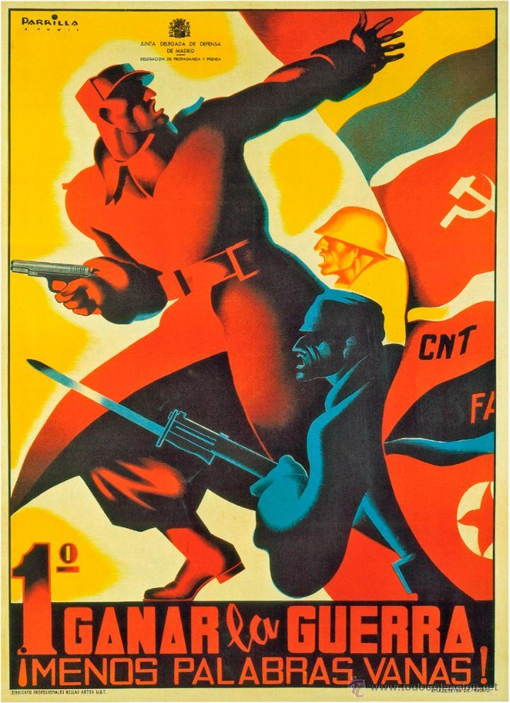 GUERRA CIVIL. LÁMINA DEL CARTEL 1º GANAR LA GUERRA. TAMAÑO A3 (Coleccionismo - Carteles Gran Formato - Carteles Guerra Civil)
