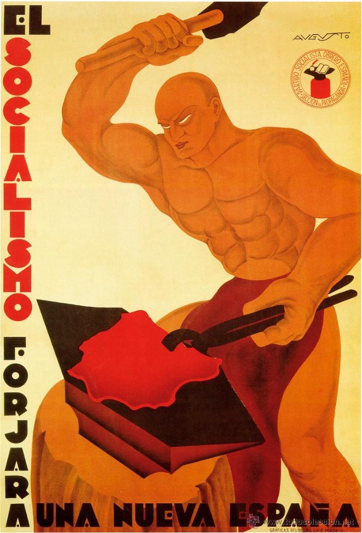 GUERRA CIVIL. LÁMINA DEL CARTEL - EL SOCIALISMO FORJA UNA NUEVA ESPAÑA -. TAMAÑO A3 (Coleccionismo - Carteles Gran Formato - Carteles Guerra Civil)