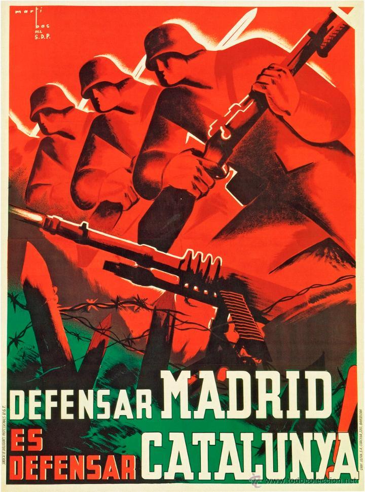 GUERRA CIVIL. LÁMINA DEL CARTEL -DEFENSAR MADRID ES DEFENSAR CATALUNYA- TAMAÑO A3 (Coleccionismo - Carteles Gran Formato - Carteles Guerra Civil)