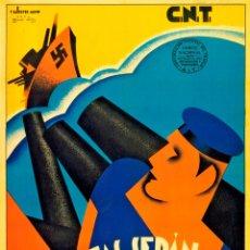 Carteles Guerra Civil: GUERRA CIVIL. LÁMINA DEL CARTEL -CNT BRAVOS MARINOS- TAMAÑO A3. Lote 73624821