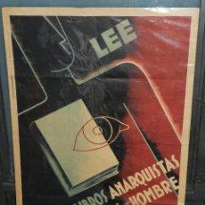 Carteles Guerra Civil: (M) CARTEL GUERRA CIVIL - LEE LIBROS ANARQUISTAS Y SERAS UN HOMBRE, ILUSTRADO POR CIMINE. Lote 46591562