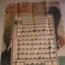 Carteles Guerra Civil: CARTEL GUERRA CIVIL REPUBLICA HUNDIMIENTO DE BARCOS ESPAÑOLES POR LOS ALEMANES EN LA 1ª GUERRA. Lote 50502018