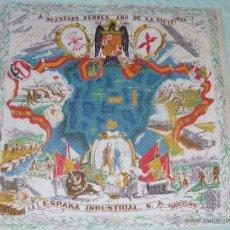 Carteles Guerra Civil: GUERRA CIVIL..TAPIZ -REPOSTERO..TELA IMPRESA ..ALEGORICO HEROES DE LA VICTORIA.... Lote 51392957