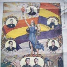 Carteles Guerra Civil: LOS MARTIRES DE LA LIBERTAD - 1ER. ANIVERSARIO REPÚBLICA ESPAÑOLA, IMP.EL GATO NEGRO 1932. Lote 54110281