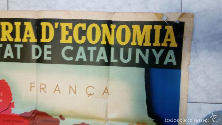 Carteles Guerra Civil: + Mapa gran tamaño Guerra Civil. Comarques y Regions de Catalunya. Original - Foto 2 - 269834693