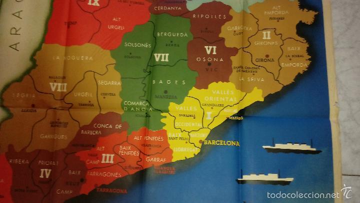 Carteles Guerra Civil: + Mapa gran tamaño Guerra Civil. Comarques y Regions de Catalunya. Original - Foto 3 - 269834693